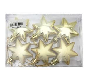 Imagen de Adorno navideño estrella x6, opacas y brillosas, 2 colores, en caja