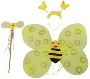 Imagen de Disfraz alitas de abeja, con tiara y varita, en bolsa, 2 colores