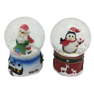 Imagen de Adorno navideño bola de vidrio con nieve, CAJA x12, varios diseños