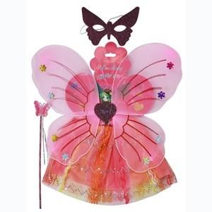 Imagen de Disfraz alitas de mariposa, con pollera, antifaz y varita, en bolsa, varios colores