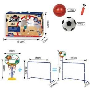 Imagen de Arco de fútbol y tablero de basket, con pelotas e inflador, en caja