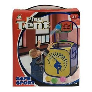 Imagen de Aro de basquet, con canasto porta juguetes de TNT y red, 4pelotas de plástico, en caja