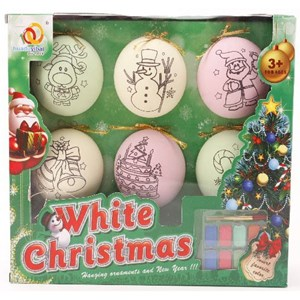 Imagen de Adornos navideños para pintar, con pincel y acuarelas, en caja