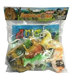 Imagen de Animales surtidos x8, con accesorios plantas y  base de nylon, en bolsa