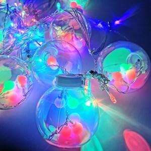 Imagen de Luces led x138, cascada de 12 bolas con luces intermitentes de colores en el interior y luces blancas en la guía, 220v, en caja