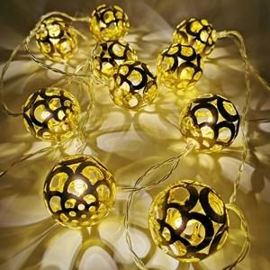 Imagen de Luces led x10, guía de 10 bolas doradas , a pila, 2AA, en bolsa