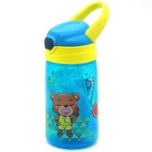 Imagen de Botella de plástico, pico retráctil, con asa de goma, con diseño infantil, 430ml, varios diseños