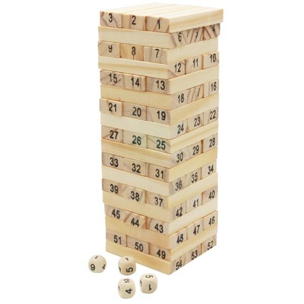 Imagen de Juego de mesa para armar torre, 54 fichas de madera y 4 dados, en caja