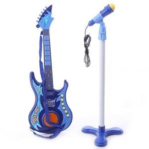 Imagen de Guitarra de plástico con luz y sonido y micrófono de pie, 3AA, en caja