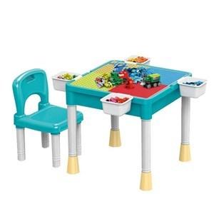 Imagen de Mesa multifunción, escritorio intercambiable con superficie para construir con blocks y cajón para guardado, con silla, de plástico, en caja