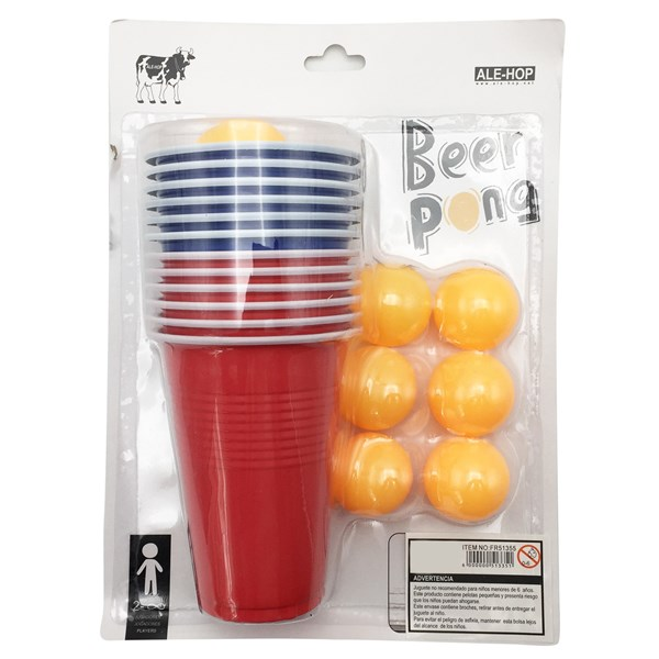 Imagen de Juego de mesa, 12 vasos + 12 pelotas de ping pong, en blister