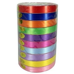 Imagen de Cinta de regalo lisa, 1.5cm ancho, pack x10 rollos de varios colores