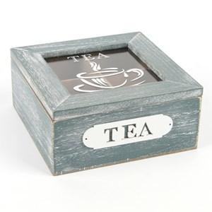 Imagen de Caja para té de madera, 4 reparticiones