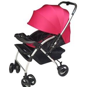 Imagen de Coche para bebé, 3 posiciones, capota entera, cinturón 5 puntas, asa rebatible, piesera móvil, ruedas libres y freno, bandeja para el bebé, color ROJO