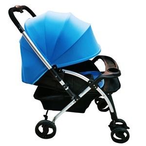 Imagen de Coche para bebé, 3 posiciones, capota entera, cinturón 5 puntas, asa rebatible, piesera móvil, ruedas libres y freno, bandeja para el bebé, color AZUL