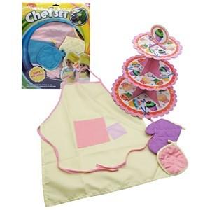 Imagen de Disfraz de cocinero, delantal, agarradera guante y soporte para cakes de cartón, en bolsa