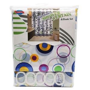 Imagen de Cortina de baño con 12 aros de plástico, de poliéster, varios diseños, en bolsa