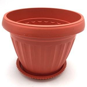 Imagen de Maceta de plástico redonda, 20cm, con plato