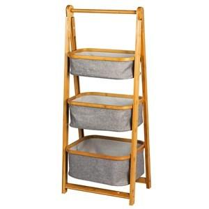 Imagen de Mueble organizador de bambú, cajones de tela