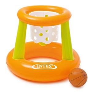 Imagen de Inflable flotador redondo, con aro de basket, en caja, INTEX