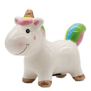 Imagen de Alcancía de cerámica unicornio, en caja, 2 colores