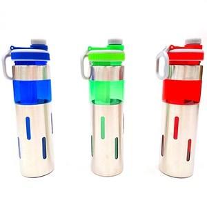 Imagen de Botella deportiva aluminio y plástico, 700ml con porta hielo, varios colores