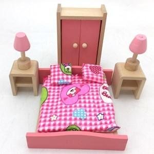 Imagen de Muebles para muñecas de madera, dormitorio, en caja