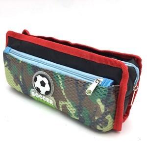 Imagen de Cartuchera de PVC y tela con 2 cierres, PACK x12, varios colores
