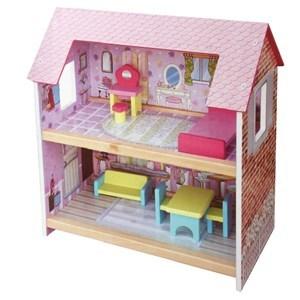 Imagen de Casita de muñecas de MDF, con 6 muebles, cama sillón, tocador, 2 sillas, mesa y banquito, en caja