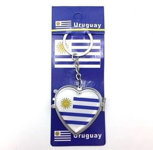 Imagen de Llavero relicario y espejo, diseño URUGUAY, pack x12