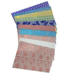 Imagen de Hojas A4, papel metalizado con pegamento, bolsa x10 diseños