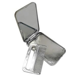 Imagen de Espejo de cartera de plástico, con peine, en bolsa