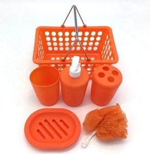 Imagen de Dispensador de jabón de plástico, con accesorios, en canasto, 2 colores