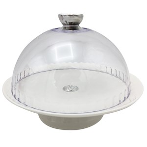 Imagen de Cubre torta, campana de acrílico plato de cerámica con pie, para tortas de 20cm de diámetro, en caja