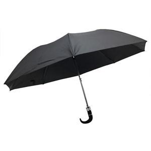 Imagen de Paraguas corto automático, mango curvo, 8 varillas, color negro