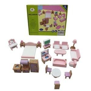 Imagen de Muebles para muñecas de madera, 36 piezas, en caja