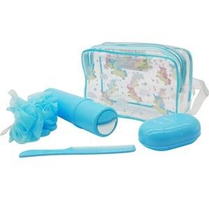 Imagen de Neceser de PVC con diseño, con esponja, estuche para cepillo de dientes con espejo, jabonera y peine, varios colores