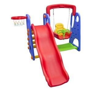 Imagen de Tobogán de plástico, con hamaca y aro de basket, en caja
