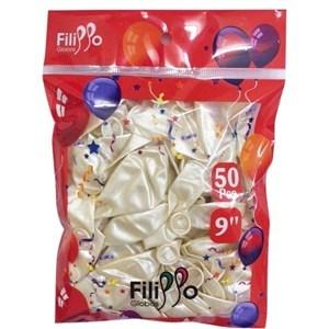 """Imagen de Globo 9"""" FILIPPO blanco metalizado, bolsa x50"""