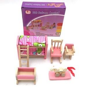 Imagen de Muebles para muñecas de madera, dormitorio infantil, en caja