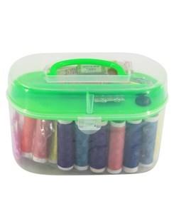 Imagen de Hilos x12 y accesorios para costura, en valija de plástico
