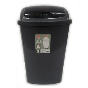 Imagen de Papelera de plástico 35L, tapa vaivén