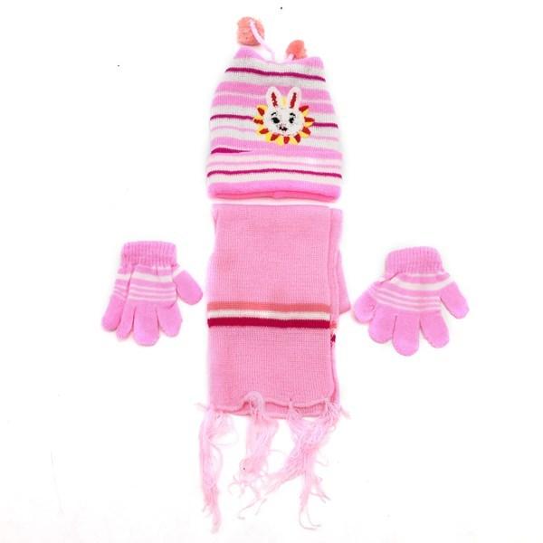 Imagen de Gorro infantil forrado, bufanda y guantes, en bolsa, varios colores